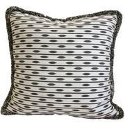 black and white almond stripe pillow