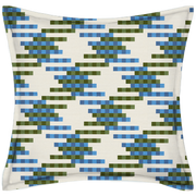 Saturday House Lattice Blue and Green Patterned Pillow