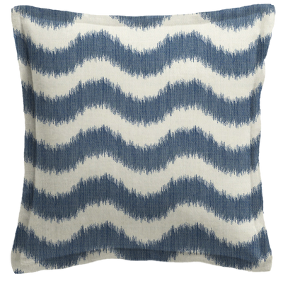 Blue Wavy Striped Pillow