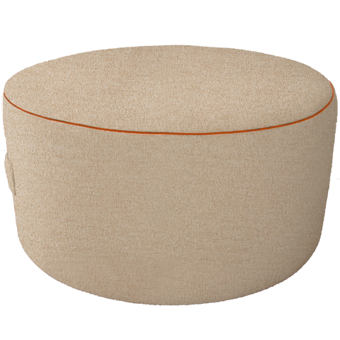 Beige Pouf with orange trim