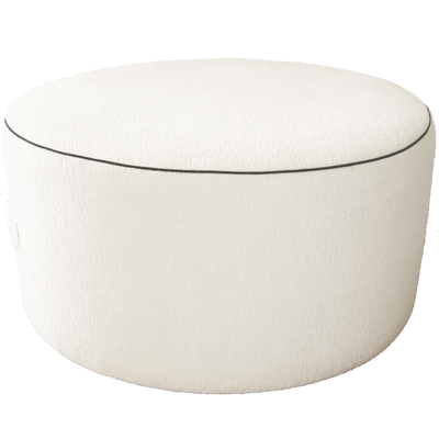 Saturday House White Pouf with Black trim
