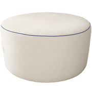 Saturday House White Pouf with Navy Trim