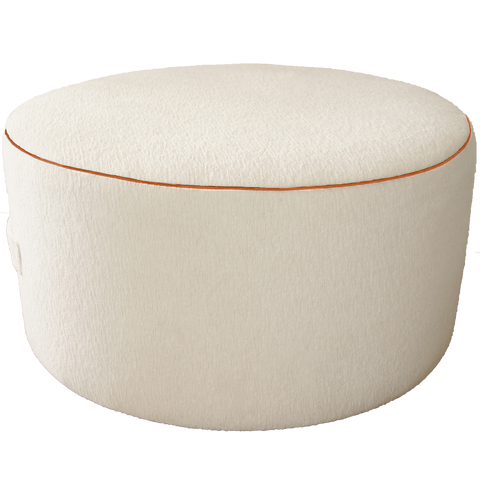 Saturday House White Terry Pouf with Orange trim