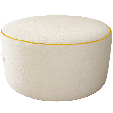 Saturday House White Terry Pouf with Yellow Trim