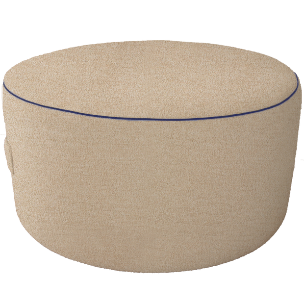 Beige Pouf with Blue Trim