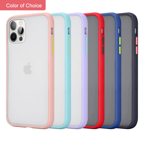 "Apple iPhone 12 /12 Pro (6.1"") Phone Case Hybrid Frosted PC Armor Matte Protective TPU Gummy Rubber Rugged Anti-Shock Heavy Duty Case with Camera Lens Protector Case Cover for iPhone 12 / 12 Pro"