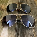 Premium Rectangle Gold Metal-Frame Retro Classic Oversized Aviator Sunglasses - NikkiEyewear.com - 8