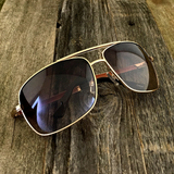 Premium Rectangle Gold Metal-Frame Retro Classic Oversized Aviator Sunglasses - NikkiEyewear.com - 1