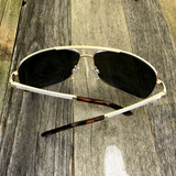 Premium Rectangle Gold Metal-Frame Retro Classic Oversized Aviator Sunglasses - NikkiEyewear.com - 6