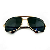 Premium Rectangle Gold Metal-Frame Retro Classic Oversized Aviator Sunglasses - NikkiEyewear.com - 9