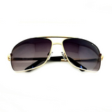 Premium Rectangle Gold Metal-Frame Retro Classic Oversized Aviator Sunglasses - NikkiEyewear.com - 11