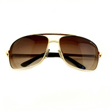 Premium Rectangle Gold Metal-Frame Retro Classic Oversized Aviator Sunglasses - NikkiEyewear.com - 12