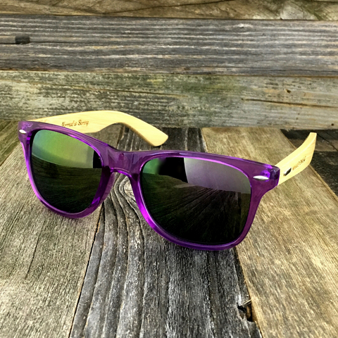 Bamboo Wood Transparent Purple Hybrid Sunglasses - NikkiEyewear.com - 1
