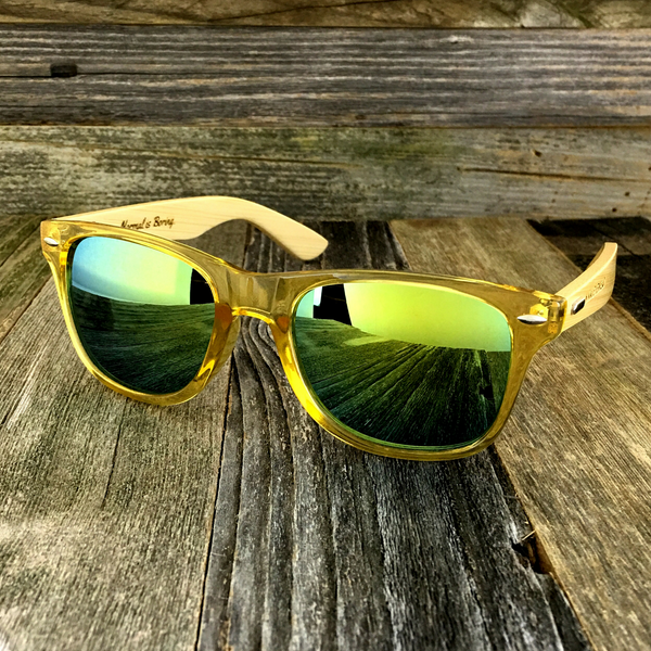 Bamboo Wood Transparent Yellow Hybrid Sunglasses - NikkiEyewear.com - 1