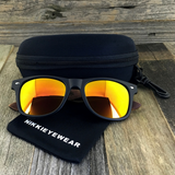Matte Black Hybrid Rosewood Bamboo Sunglasses Flash Colored Lens - NikkiEyewear.com - 5