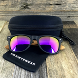 Matte Black Hybrid Rosewood Bamboo Sunglasses Flash Colored Lens - NikkiEyewear.com - 6