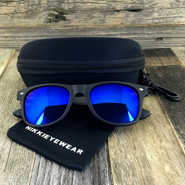 Matte Black Hybrid Rosewood Bamboo Sunglasses Flash Colored Lens - NikkiEyewear.com - 1