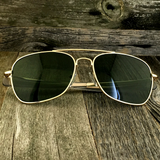 Classic Rectangle Aviator Pilot Sunglasses with Paddle Temples and Glass Lens - NikkiEyewear.com - 7