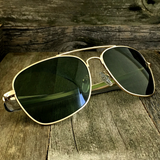 Classic Rectangle Aviator Pilot Sunglasses with Paddle Temples and Glass Lens - NikkiEyewear.com - 1