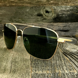 Classic Rectangle Aviator Pilot Sunglasses with Paddle Temples and Glass Lens - NikkiEyewear.com - 2