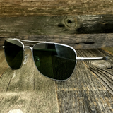 Classic Rectangle Aviator Pilot Sunglasses with Paddle Temples and Glass Lens - NikkiEyewear.com - 3