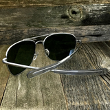 Classic Rectangle Aviator Pilot Sunglasses with Paddle Temples and Glass Lens - NikkiEyewear.com - 5