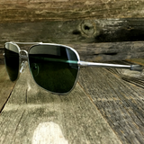 Classic Rectangle Aviator Pilot Sunglasses with Paddle Temples and Glass Lens - NikkiEyewear.com - 11