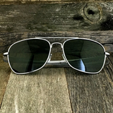 Classic Rectangle Aviator Pilot Sunglasses with Paddle Temples and Glass Lens - NikkiEyewear.com - 12