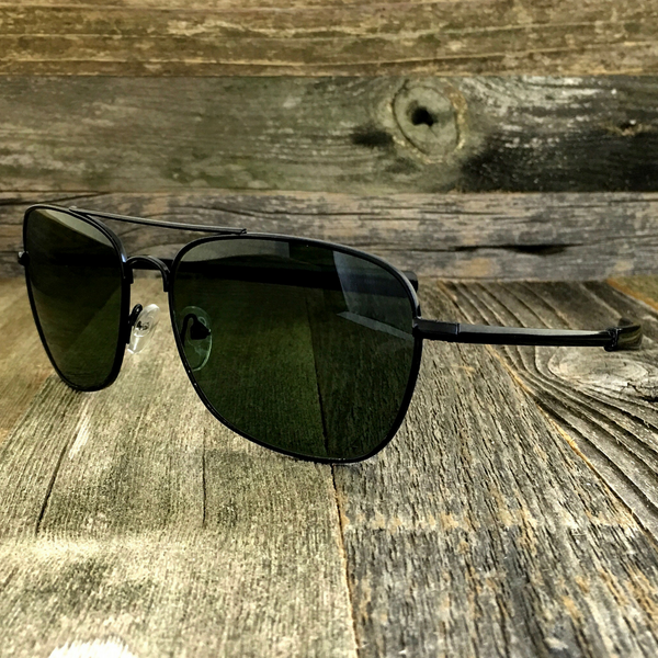 Classic Rectangle Aviator Pilot Sunglasses with Paddle Temples and Glass Lens - NikkiEyewear.com - 4