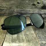 Classic Rectangle Aviator Pilot Sunglasses with Paddle Temples and Glass Lens - NikkiEyewear.com - 9