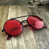 Vintage Steampunk Hippie Round Flip Up Tinted Color Lens Sunglasses - NikkiEyewear.com - 9