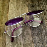 Vintage Steampunk Hippie Round Flip Up Tinted Color Lens Sunglasses - NikkiEyewear.com - 19