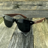 Eco Friendly Rosewood Bamboo Wood Temples Black Horned Rim Half Frame Sunglasses - NikkiEyewear.com - 4