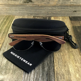Eco Friendly Rosewood Bamboo Wood Temples Black Horned Rim Half Frame Sunglasses - NikkiEyewear.com - 3