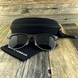 Eco Friendly Rosewood Bamboo Wood Temples Black Horned Rim Half Frame Sunglasses - NikkiEyewear.com - 2