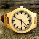 Engraved Bamboo Sandalwood Watch With Genuine Leather Strap - NikkiEyewear.com - 3