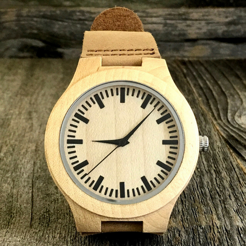 Engraved Bamboo Sandalwood Watch With Genuine Leather Strap - NikkiEyewear.com - 1