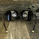 Steampunk Aviator Sunglasses with Embossed Intricate Details Side Shields - NikkiEyewear.com - 7