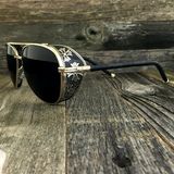 Steampunk Aviator Sunglasses with Embossed Intricate Details Side Shields - NikkiEyewear.com - 5