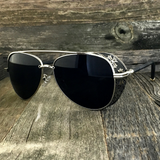 Steampunk Aviator Sunglasses with Embossed Intricate Details Side Shields - NikkiEyewear.com - 4