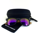 Matte Black Hybrid Rosewood Bamboo Sunglasses Flash Colored Lens - NikkiEyewear.com - 19