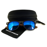 Matte Black Hybrid Rosewood Bamboo Sunglasses Flash Colored Lens - NikkiEyewear.com - 22