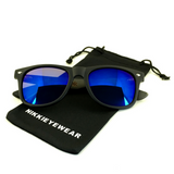 Matte Black Hybrid Rosewood Bamboo Sunglasses Flash Colored Lens - NikkiEyewear.com - 14
