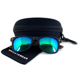 Matte Black Hybrid Rosewood Bamboo Sunglasses Flash Colored Lens - NikkiEyewear.com - 20