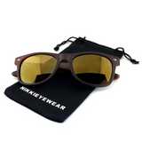 Matte Black Hybrid Rosewood Bamboo Sunglasses Flash Colored Lens - NikkiEyewear.com - 15