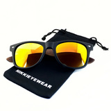 Matte Black Hybrid Rosewood Bamboo Sunglasses Flash Colored Lens - NikkiEyewear.com - 16