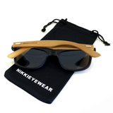 Matte Black Hybrid Rosewood Bamboo Sunglasses Flash Colored Lens - NikkiEyewear.com - 11