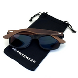 Matte Black Hybrid Rosewood Bamboo Sunglasses Flash Colored Lens - NikkiEyewear.com - 2