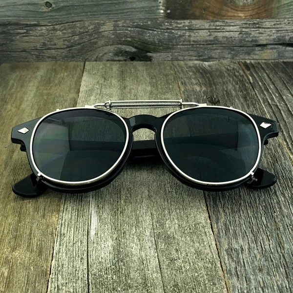 Oversized Retro Unique Spring Coil Crossbar Clip On Lens Steampunk Sunglasses - NikkiEyewear.com - 1