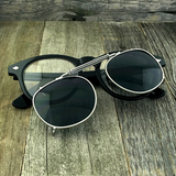 Oversized Retro Unique Spring Coil Crossbar Clip On Lens Steampunk Sunglasses - NikkiEyewear.com - 2
